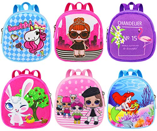 ZITA ELEMENT 6 Pcs Fashion Doll Backpack Mini School Bag for 14 - 16 Inch Baby Dolls, 15 Inch Bitty Baby Doll, American 18 Inch Girl Doll and Other 18 Inch Doll Accessories
