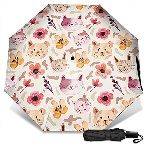 LYYNBLA CatCompact - Paraguas de viaje para exteriores (apertura y cierre manual), Impresión exterior, Taille unique
