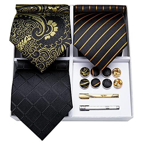 WODMB 3 Pack Men's Tie Set Set de regalo Conjunto de regalo para Hombres Azul Verde Pink Silk Business Body Tie Hanky Gemelos (Color : Black Gold Striped, Size : One size)