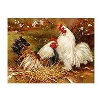 油絵 数字キット 油絵 数字ト ホリデーギフト、誕生日ギフト 40x50センチ フレームレス2羽の鶏