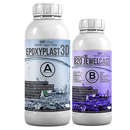 Epoxidharz EpoxyPlast 3D B20 Jewel Cast 1,5 KG für Resin Art I Ultra Diamantklar I Exzellenter UV Schutz I Schmuck I Gießharz I Glasklar I Formenbau I Premium Produkt I Schnellhärtend I Holz Glas