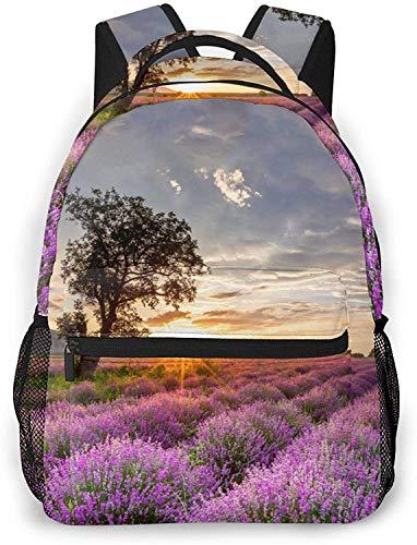 Video game pattern Basic Travel Laptop Backpack Novelty School Bag-Vast Lavender Field at Sunrise