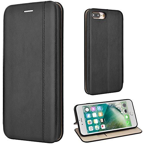 Leaum iPhone 7 Plus Hülle, iPhone 8 Plus Handyhülle Leder Tasche Flip Case für Apple iPhone 7 Plus / 8 Plus 5,5 Zoll Schutzhülle (Schwarz)