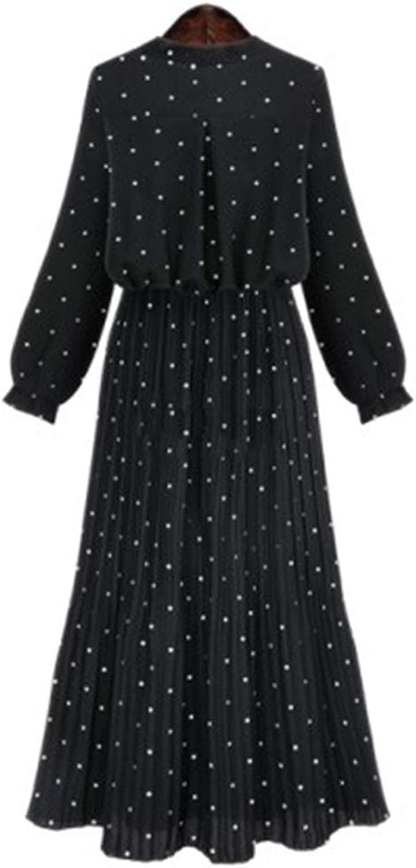 Cute Emma Spring Summer Polka Dot Dresses for Women Bow Long Sleeve High Waist Pleated Sweet Dress Female