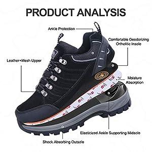CAMEL CROWN Hiking Shoes Women Waterproof Non Slip Sneakers Low Top for Outdoor Trekking Walking Black 7