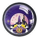 Perillas de armario de cocina de 4 piezas Perillas de cajón Perillas de tocador Interruptor de fiesta de Halloween Wowan Pumpkin Mango de cristal de cristal