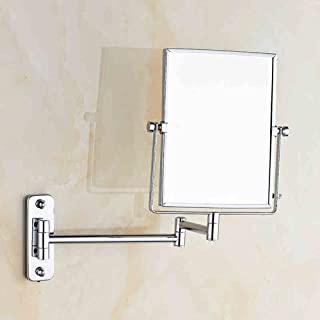 Beauty Mirror Bathroom Double Enlarge Rotating Telescopic Mirror, Makeup Mirror Bathroom Folding Mirror, 5CD1 (Color : Drilling)