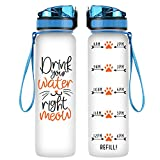 Coolife 32oz 1 Liter Motivational Tracking Water Bottle w/ Hourly Time Marker - Drink Your Water Right Meow - Funny Mothers Day, Birthday Gifts for Women, Cat Lovers, Cat Mom, Cat Lady, Friends, Girls