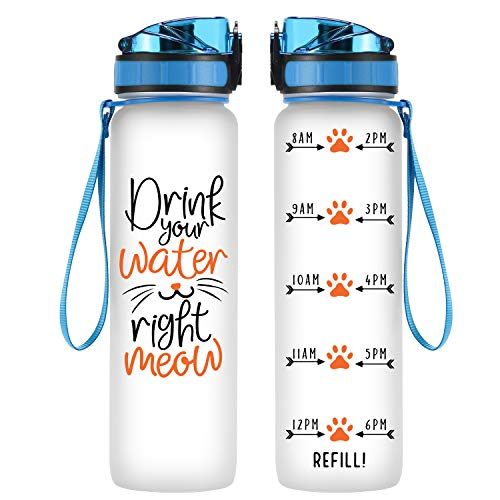 Coolife 32oz 1 Liter Motivational Tracking Water Bottle w/Hourly Time Marker - Drink Your Water Right Meow - Funny Birthday Gifts for Women, Cat Lover, Cat Mom, Cat Lady, Best Friend, Coworker, Her