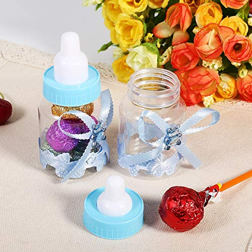 50 pezzi scatola di bottiglie di cioccolatini mini caramelle forma biberon for baby shower bomboniere regali feste di compleanno decorazioni (blu)