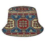 RUEMAT Sombrero Pescador Unisex,Alfombra Kazak Oriental Mosaico Colorido Tradicional,Plegable Sombrero de Pesca Aire Libre Sombrero Bucket Hat para Excursionismo Cámping De Viaje Pescar