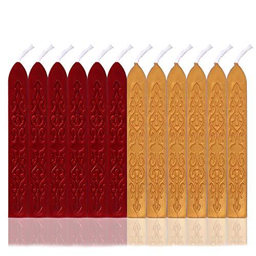 Aiboria 12 Stück Versiegeln mit Dochten versiegeln, Vintage Wachsversiegelungsset mit Dochten für Wachssiegelstempel und Porto-Brief Hochzeitseinladungssiegel (Rot + Gold)