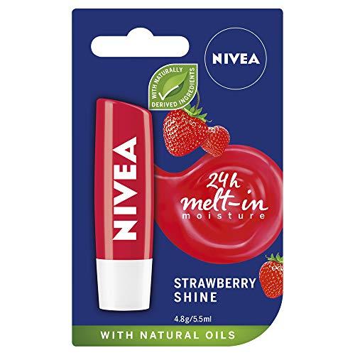 NIVEA Fruity Shine Strawberry Lip Balm, 4.8G, 4.8 grams