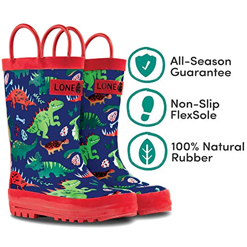 LONECONE Rain Boots with Easy-On Handles in Fun Patterns for Toddlers and Kids, Puddle-a-Saurus Dinosaur, 6 Toddler