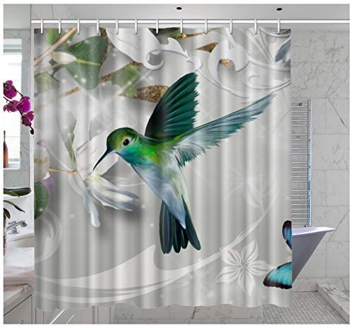 Custom Waterproof Bathroom Hummingbird Shower Curtain Polyester Fabric Shower Curtain Size 60 X 72 Inch