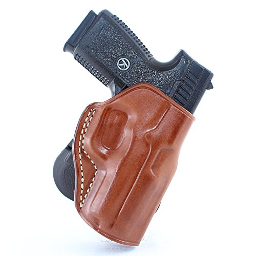 Premium Leather OWB Paddle Holster with Open Top Fits, Kahr K9/P40/CW40/P45/CW45, Right Hand Draw, Brown Color #1112#