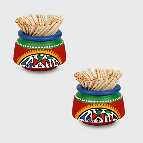 ExclusiveLane Terracotta Handpainted Warli Toothpick Holder Set Red -Toothpick Holder Dispenser Kitchen Accessories Toothpick Stand for Table