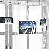 Starall Handy-/Tablet-Halterung, Duschvorhang, Liner mit Taschen, umweltfre&lich, EVA, schnelltrocknend, transparent