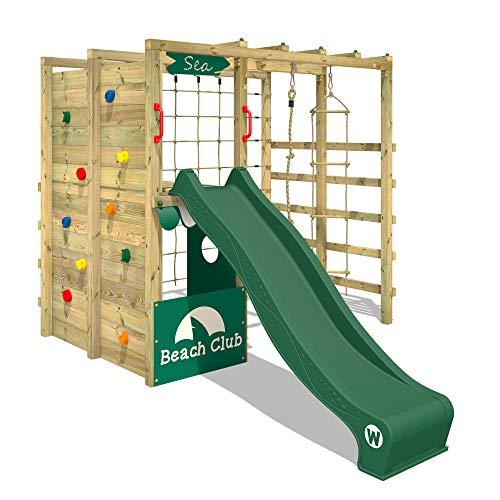 WICKEY Klettergerüst Spielturm mit Kletternetz, Kletterwand Kletterleiter 'Smart Allstar' - grüne Rutsche, grüne Plane