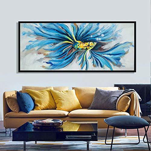 Handgeschilderd olieverfschilderij kunstwerk op canvas, grote abstracte blauwe blauwe staart vis uniek geschenk slaapkamer nachtkastje wandbehang schilderij Scandinavische horizontale versie voor home-office decoraties 40×80cm(15×31 inch)
