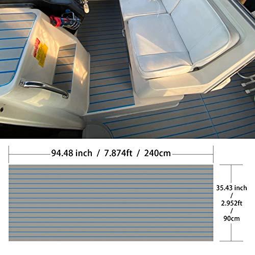 Multipurpose EVA Foam Faux Teak Boat Decking Sheet Non-Skid Self-Adhesive Sea Deck Marine Yacht RV Boat Flooring Mats (Shallow Grey with Blue Seam Straight Groove, 94.5