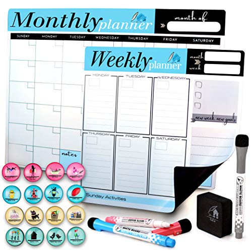Fridge Magnetic Dry Erase Calendar by LULU OFFICE - Set of 2 Weekly & Monthly Refrigerator Whiteboard Magnet Planner Organizer, Calendars for Home and Office with 3 Markers 16 Magnets & Eraser