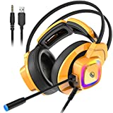 Monster Mission Bot Gaming Headset, PC Gaming Headphones with Noise Cancelling Microphone, Colorful RGB Light, Adaptive Suspension Headband. Compatible with PC/Mac/PS5/Xbox One (Yellow)