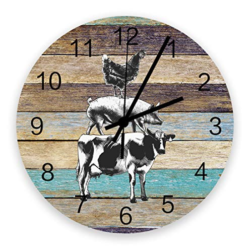 SIMIGREE Retro 12 Inch Waterproof Wall Clock  Silent Non-Ticking Battery Operated for Home Classroom Conference Room Wall Decorative Clock - Retro Rustic Farm with Western Wooden Cow Pig Chicken