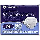 Member's Mark Total Protection Adult Briefs for Men & Women, Medium (60 ct.)