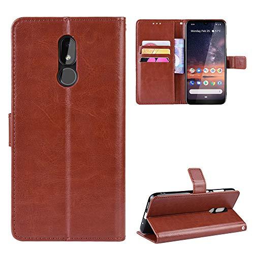 Snow Color Nokia 3.2 Hülle, Premium Leder Tasche Flip Wallet Case [Standfunktion] [Kartenfächern] PU-Leder Schutzhülle Brieftasche Handyhülle für Nokia3.2 - COBYU030934 Braun