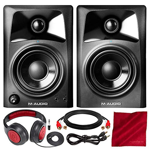 M-Audio AV32 10-Watt Compact Studio Monitor Speakers with 3' Woofer (Pair) with Headphones and Bundle