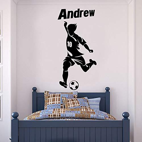 Calcomanías de pared con icono de jugador de fútbol con nombre personalizado personalizable, calcomanías de papel tapiz de decoración del hogar para habitación de niño adolescente A7 42x88cm