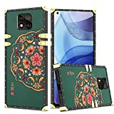 XNMOA for Moto G Power Case 6.6 Inch Luxury Retro Square Case for Women Girls Soft TPU Full Body Shockproof Protective Phone Cover Metal Decoration Corner Case(2021) for Moto G Power Case