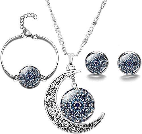 BACKZY MXJP Collar Elegante Mandala Flores Conjuntos De Joyas Budismo Patrones De Símbolos Collar De Luna De Cristal Pendientes Brazaletes Conjunto para Dama Niña Collar