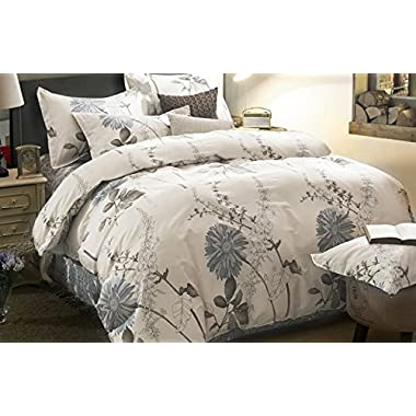 Duvet Cover Set, 100% Cotton Bedding, Botanical Floral Flowers Pattern Printed, with Zipper Closure (3pcs, Queen Size)