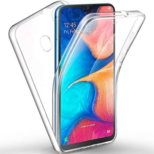 AROYI Coque rigide en silicone avec protection à 360 degrés et façade en TPU souple pour Samsung Galaxy A20e clair