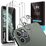L K [4 Pezzi] 2 Pezzi Pellicola Protettiva per iPhone 11 Pro Max 6.5'' + 2 Pezzi Fotocamera Posteriore Pellicola Vetro Temperato, [Kit d'Installazione] [Senza Bolle] Vetro Temperato