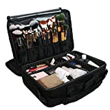 Large Professional Makeup Train Case Cosmetic Bag Brush Organizer and Storage 16' Travel Make Up Artist Box 3 Layer Capacity with Adjustable Dividers