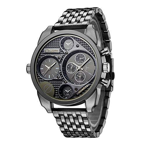 SW Watches OULM Reloj Analógico De Cuarzo Resistente Al Agua para Hombre De Las Zonas Horarias Diseño De Gran Tamaño Negro HT9316-3