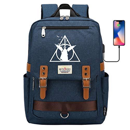 Deathly Hallows School Bag Boy/Girl Large Capacity School Bag Hiking Rucksack Large Army Blue
