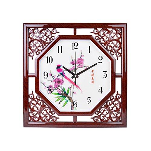 reloj de pared 20 Pulgadas Simple Imitación Creativa de Madera Reloj Chino de Pared Sala de Estar Dormitorio Moderno Hogar Reloj de Cuarzo Mudo Rollsnownow (Size : Style Two)