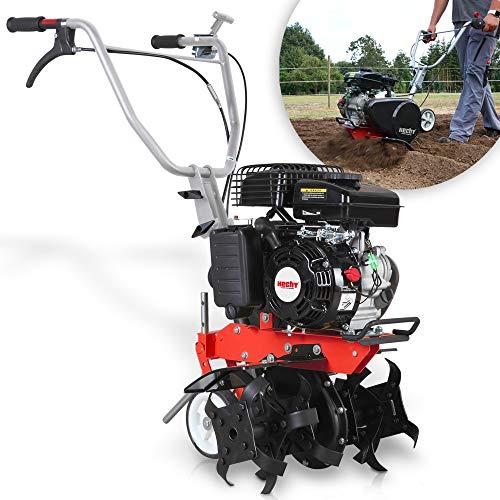 HECHT gartenfräse Benzin – 43 cm Arbeitsbreite – 2-Takt Motor – 24 Messer – Motorhacke – Bodenfräse – Bodenhacke – Bis 20 cm tief Garten umgraben und Boden auflockern für perfekten Rasen und Pflanzen