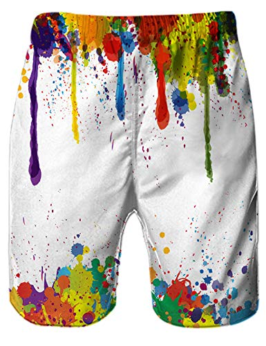 Rave on Friday Bañadores Hombre 3D Digital Impreso Impresión Coloreada Verano Playa Shorts Surf Vacaciones Pantalones Cortos S