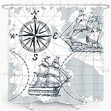 ZXMBF Nautical Sailboat Map Shower Curtain Modern Compass Rose Grey Sketch Ship Boat Anchor Waterproof Fabric Bathroom Décor Set 72x72 Inch Plastic Hooks 12 Pcs