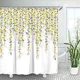 LIVILAN Duschvorhang mit Blumenmuster, grüne Blätter, Blume mit Vogelmotiv, Duschvorhang mit 12 Haken, dekorativer Stoff, Badvorhang, tropischer Stil, maschinenwaschbar, 183 x 183 cm (Gelb)
