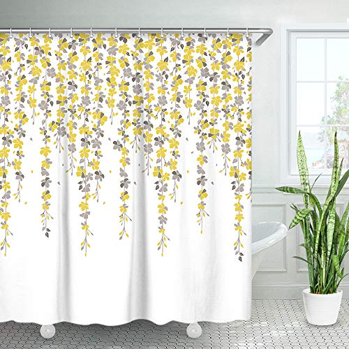 """LIVILAN Weeping Flower Shower Curtain with Hooks, Spring Floral Vine Decorative Fabric Bath Curtain, Waterproof Machine Washable, Yellow Gray, 72"""" X 72"""""""