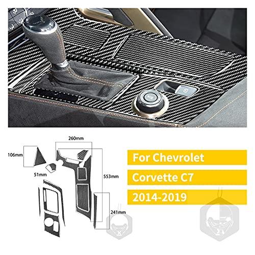 Prospective Ajuste para Chevrolet Corvette C7 Fibra de Carbono Etiqueta engomada Interior 2014-2019 Dirección Mayúscula Mayúscula Radio Panel de la Puerta Consola Accesorios para automóviles