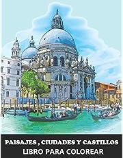 Paisajes, Ciudades Y Castillos Libro para Colorear: Paisajes urbanos de ciudades europeas - Idea de regalo de Navidad para Adultos