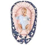 Nido para Bebe - Reductor de Cuna Nido Bebe Recien Nacido algodón con Certificado Oeko-Tex (Libra Sobre Granada y Fondo Rosa, 90 x 50 cm)