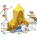 Bayobii Children's Building Fort Kit 66 Pieces +1 Blanket-Ultimate Fortress Architect Building Toy Gift Boy Girl Making DIY Building Castle Tunnel Tent Rocket Tower Indoor and Outdoor